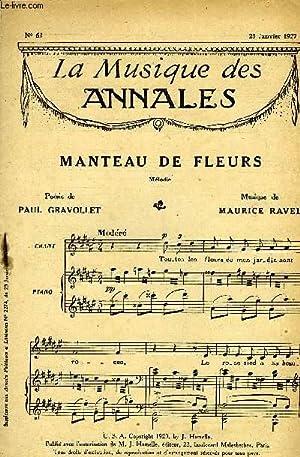 LA MUSIQUE DES ANNALES N°62 MANTEAU DE FLEUR: COLLECTIF