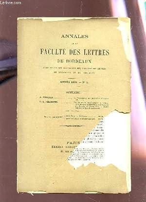 ANNALES DE LA FACULTE DE LETTRES DE BORDEAUX - ANNEE 1893 - N°1 / A. ESPINAS : La ...