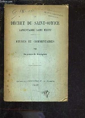 LE DECRET DU SAINT OFFICE - ETUDES: GROUPE DE THEOLOGIENS