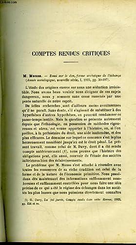 COMPTES RENDUS CRITIQUES : M. MAUSS, SIR JAMES GEORGE FRAZER, F. DESSERTEAUX, R. MMONIER, RAOUL NAZ...