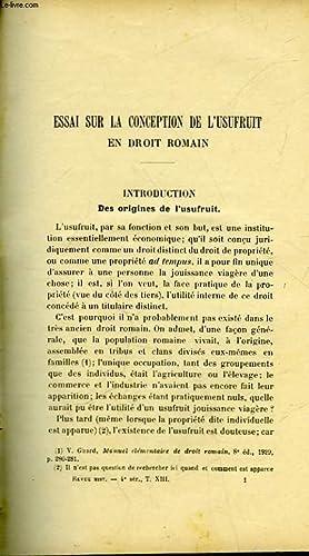 ESSAI SUR LA CONCEPTION DE L'USUFRUIT EN: MASSON PIERRE -