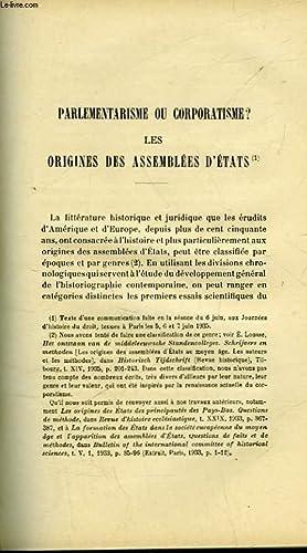 PARLEMENTARISME OU CORPORATISME? LES ORIGINES DES ASSEMBLEES D'ETATS: LOUSSE E.