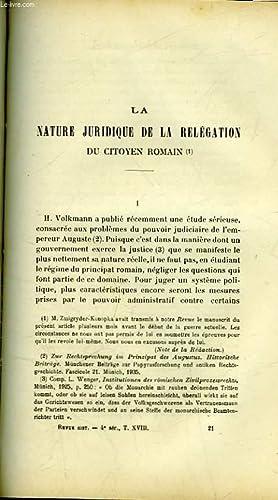 LA NATURE JURIDIQUE DE LA RELEGATION DU CITOYEN ROMAIN - LE TESTAMENT D'HENRI 2 DUC DE BRABANT...
