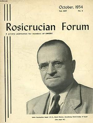 ROSICRUCIAN FORUM, VOL. XXV, N° 2, OCT. 1954: COLLECTIF