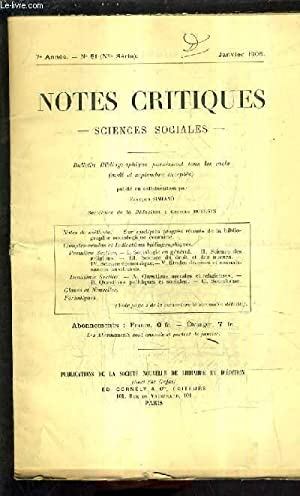 NOTES CRITIQUES SCIENCES SOCIALES - BULLETIN BIBLIOGRAPHIQUE - 7E ANNEE N°51 NOUVELLE SERIE ...