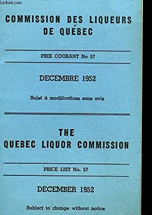 COMMISSION DES LIQUEURS DE QUEBEC - THE QUEBEC LIQUOR COMMISSION - TARIFS: COLLECTIF
