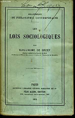 LES LOIS SOCIOLOGIQUES .: DE GREEF GUILLAUME