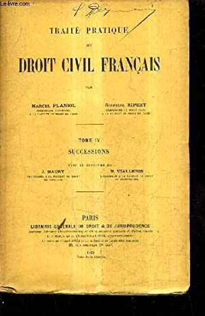 TRAITE PRATIQUE DE DROIT CIVIL FRANAIS -: PLANIOL MARCEL &