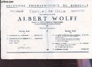 """PROGRAMME OFFICIEL - ALBERT WOLFF - Concert de Gala / Ouverture de """"Coriolan"""" - ..."""