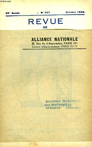 REVUE DE L'ALLIANCE NATIONALE - 30° ANNEE - N°207: COLLECTIF