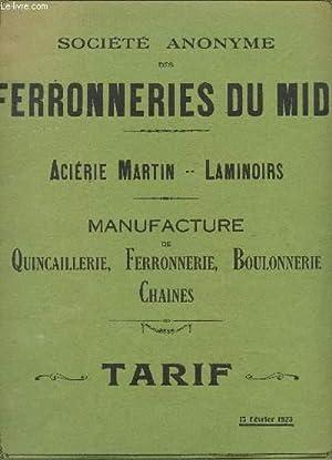 """BROCHURE TARIFAIRE """"Acierie Martin - Laminoirs"""" DE LA MANUFACTURE DE QUINCAILLERIE, ..."""