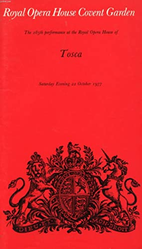 ROYAL OPERA HOUSE COVENT GARDEN, TOSCA (PROGRAMME): COLLECTIF
