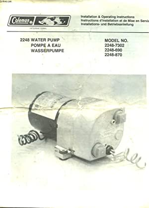 COLEMAN - 2248 WATER PUMP POMPE A EAU - WASSER PUMPE - MODEL NO. 2248-7302 - 2248-690 - 2248-870: ...