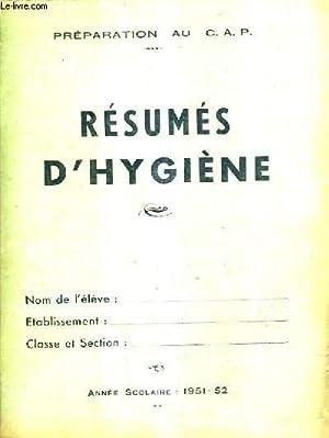 PREPARATION AU CAP RESUMES D'HYGIENE - ANNEE: MORON LOUIS