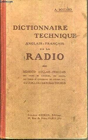DICTIONNAIRE TECHNIQUE ANGLAIS - FRANCAIS DE LA: BOITARD A.