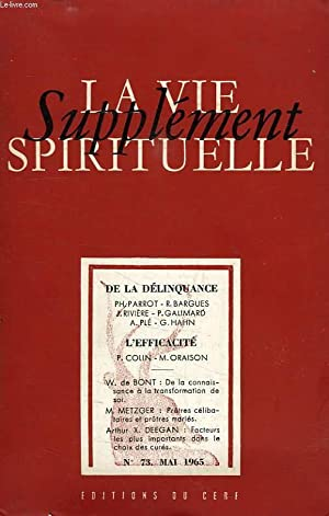 SUPPLEMENT DE LA VIE SPIRITUELLE, N° 73, MAI 1965: COLLECTIF