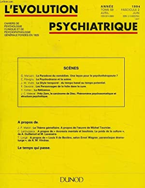 L'EVOLUTION PSYCHIATRIQUE, TOME 59, FASC. 2, AVRIL-JUIN 1994: COLLECTIF