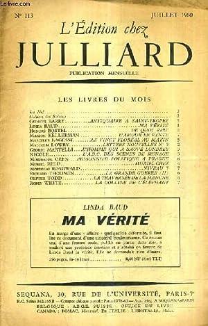 L'EDITION CHEZ JULLIARD N°113 JUILLET 1960 -: COLLECTIF