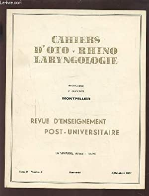 COLLECTION CAHIERS D'OTO-RHINO LARYNGOLOGIE - MONTPELLIER -: GUERRIER Y.