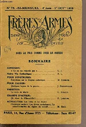 PRIERES D'ARMES DANS LA FOI POUR LA PATRIE - N°78 - 3ème ANNEE - 1er OCTOBRE 1919 / consigne: ...