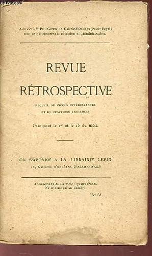 REVUE RETROSPECTIVE - N°15 / Deux notes inédites de Saint Simon : pré...