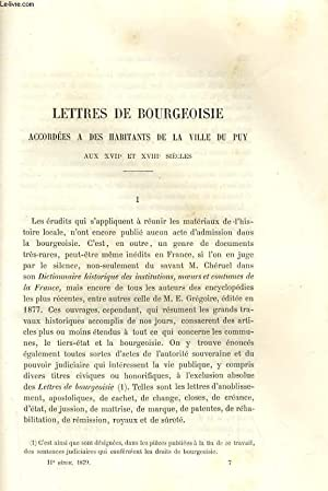 LETTRES DE BOURGEOISIE - ACCORDEES A DES: AYMARD / JACOTIN