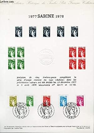 DOCUMENT PHILATELIQUE OFFICIEL N°29-78 - SABINE 1977 1978 (N°1971 1973 1974 1976 1978 YVERT ET TE...