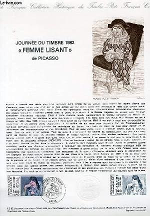 """DOCUMENT PHILATELIQUE OFFICIEL N°12-82 - JOURNEE DU TIMBRE 1982 - """"FEMME LISANT"""" DE ..."""