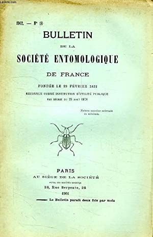 BULLETIN DE LA SOCIETE ENTOMOLOGIQUE DE FRANCE, N° 18, 1902: COLLECTIF