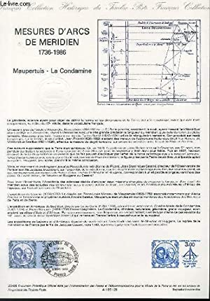 DOCUMENT PHILATELIQUE OFFICIEL N°29-86 - MESURES D'ARCS DE MERIDIEN 1736-1986 - MAUPERTUIS - LA C...