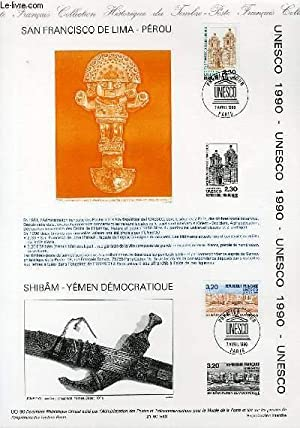 DOCUMENT PHILATELIQUE OFFICIEL N°UO-90 - UNESCO - SAN FRANCISCO DE LIMA - PEROU - SHIBAN - ...