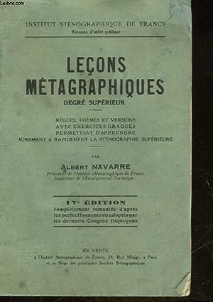 LECONS METAGRAPHIQUE - DEGRE SUPERIEUR: NAVARRE ALBERT