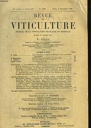 REVUE DE VITICULTURE - JOURNAL DE LA VITICULTURE FRANCAIS ET MONDIALE - 27° ANNEE - TOME 53 - N...