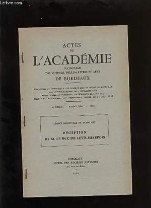 Actes de l'académie nationale des sciences, belles-lettres et arts de Bordeaux. R&...