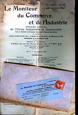 LE MONITEUR DU COMMERCE ET DE L'INDUSTRIE - 37 ANNEE - N°7: COLLECTIF