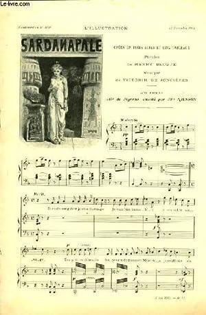 SARDANAPALE partition pour chant et piano SUPPLEMENT MUSICAL N°3168 A L'ILLUSTRATION DU 14...