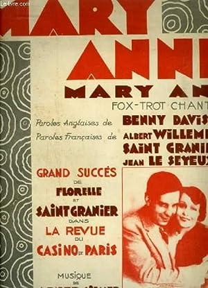 MARY ANNE - FOX TROT CHANTE POUR PIANO ET CHANT AVEC PAROLES FRANCAISES ET ANGLAISES.: SILVER ABNER