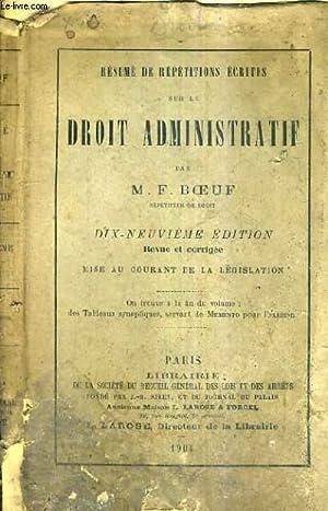 RESUME DE REPETITIONS ECRITES SUR LE DROIT: M.F. BOEUF