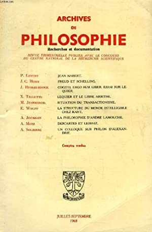 ARCHIVES DE PHILOSOPHIE, TOME XXXI, CAHIER III,: COLLECTIF
