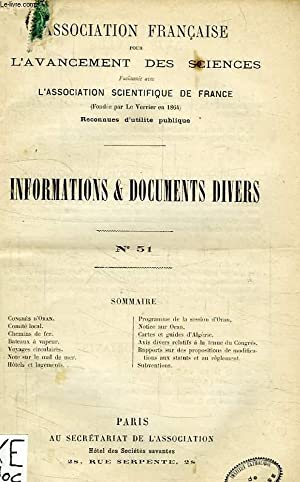 ASSOCIATION FRANCAISE POUR L'AVANCEMENT DES SCIENCES, INFORMATIONS ET DOCUMENTS DIVERS, N°...