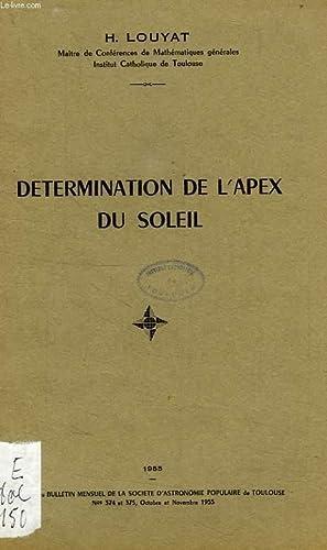 DETERMINATION DE L'APEX DU SOLEIL: LOUYAT Chan. HENRI