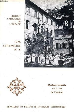 CHRONIQUE, N° 3, 1976 (Sommaire: Mgr de: COLLECTIF
