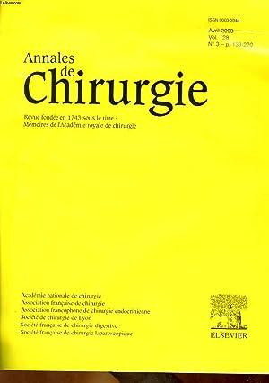 ANNALES DE CHIRURGIE - VOL 128 - N°3: COLLECTIF