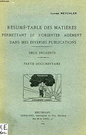 RESUME-TABLE DES MATIERES PERMETTANT DE S'ORIENTER AISEMENT DANS MES DIVERSES PUBLICATIONS: ...