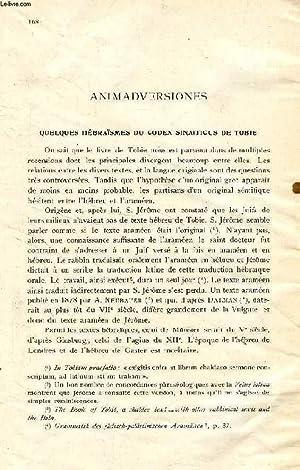 QUELQUES HEBRAÏSMES DU CODEX SINAITICUS DE TOBIE: JOÜON P. PAUL,