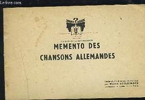 MEMENTO DES CHANSONS ALLEMANDES - PARTITION POUR: USELDINGER PIERRE