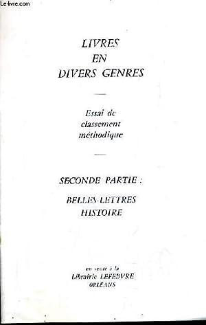 CATALOGUE DE LA LIBRAIRIE LEFEBVRE ORLEANS - LIVRES EN DIVERS GENRES - ESSAI DE CLASSEMENT ...