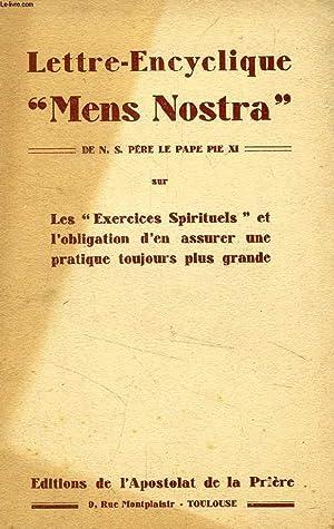 LETTRE-ENCYCLIQUE 'MENS NOSTRA' DE N. S. PERE: PIE XI