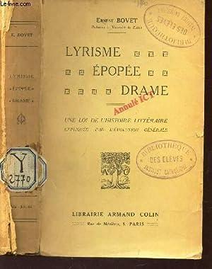 LYRISME EPOPE DRAME - UNE LOI DE L'HISTOIRE LITTERAIRE expliquée par l'evolution g...