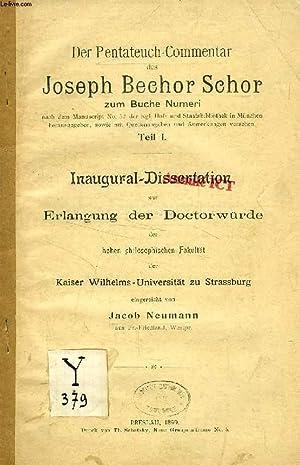 DER PENTATEUCH-COMMENTAR DES JOSEPH BECHOR SCHOR ZUM: NEUMANN JACOB